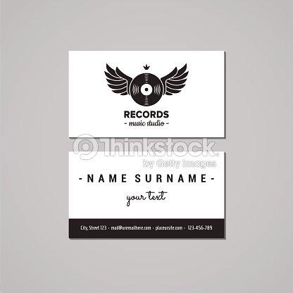 music studio business card design concept logo with vinyl record
