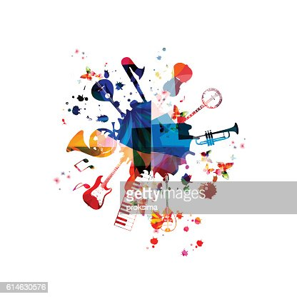 Music template vector illustration, music instruments background : Vector Art