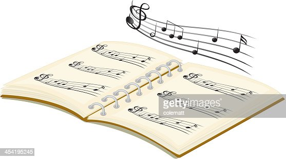 Musical book with notes : Vector Art