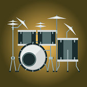 Musical drum kit wood rhythm music instrument series set of percussion vector illustration. Drummer musician cultural handmade orchestra art performance indigenous tribal sign.
