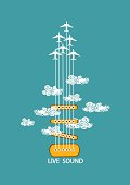Musical illustration with concept guitar and airplanes in the sky. Included Ai