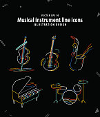 Musical instrument line icons illustration vector. Music concept.