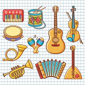 Musical instrument.  Vector ornament. Cartoon style. Set