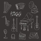 Music icon set vector illustrations hand drawn doodle. Musical instruments and symbols piano, guitar, accordion, gramophone, harp, saxophone, violin, music notes, microphone, headphones, vinyl.