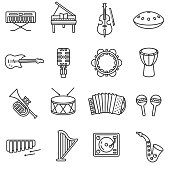 Musical instruments icons set. Various devices for music linear symbols collection.