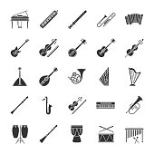 Musical instruments glyph icons set. Vector silhouettes. Orchestra equipment. Stringed, wind, percussion instruments