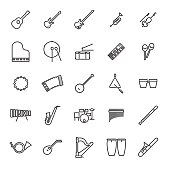 Collection of 25 black musical instruments line icons