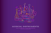 Neon colors on a dark violet background Musical Instruments Design vector illustration.