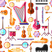 Musical instruments vector seamless pattern. Colorful background design for textile print.