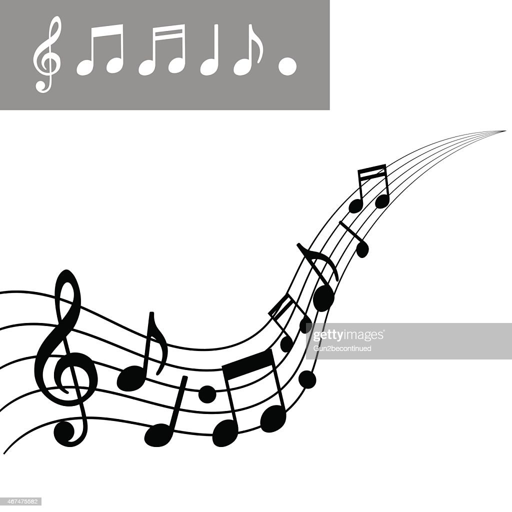 musical notes on scale music note icon set vector illustration rh thinkstockphotos com music background vector art free music vector art