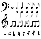 Illustration of musical notes on white background
