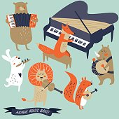 Vector set of animals playing musical instruments. Cartoon style.