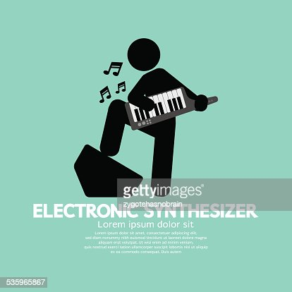 Musician Playing An Electronic Synthesizer : Vector Art