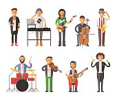 Musicians people flat vector illustration. Musician cartoon characters isolated on white background. Singer, guitarist, electro dj people vector icons. Musicians people cartoon cute style isolated