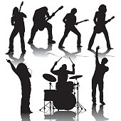 Set of black silhouettes of musicians. Vector illustration