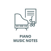 Music,piano,music notes vector line icon, outline concept, linear sign