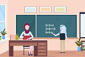 muslim arabian teacher with arab schoolboy solving math problem on chalkboard during lesson education concept modern school classroom interior full length horizontal vector illustration