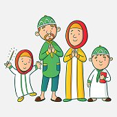 Muslim cartoon family in eid mubarak, Muslim vector illustration