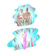 Muslim Family, baby, young mother, beautiful abstract illustration