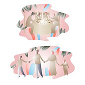 Muslim family, iftar party, abstract illustration