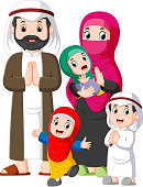 illustration of A muslim family with three children are giving the greeting forgiveness of ied mubarak