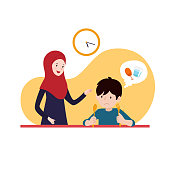 muslim mother support her hungry son to wait for iftar time break fasting. family ramadan activity illustration concept vector design.