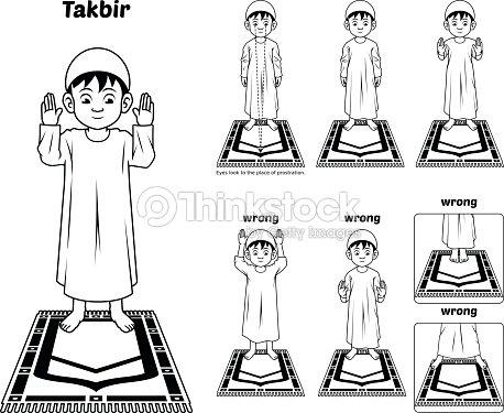 Muslim Prayer Guide Takbir Position Outline Vector Art