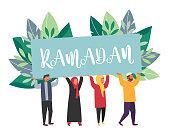 Muslim people Ramadan Kareem. Arabian men and women in traditional islamic clothes. Vector illustration