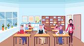 muslim teacher reading book during lesson arabic pupils in hijab sitting desks education concept modern school classroom interior horizontal full length flat vector illustration