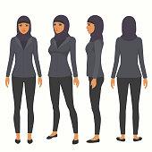 muslim woman, vector arab business character,  saudi cartoon businesswoman