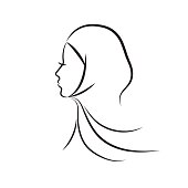 Beautiful arab muslim woman profile outline style, vector illustration