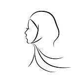 Beautiful arab muslim woman profile outline style, vector illustration