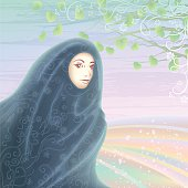 Smiling muslim woman wearing a dark hijab against light pastel landscape 32d81869d8e