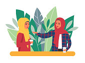 Two muslim women communication during coffee time. Vector daily life iluustration