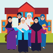 Muslim women wearing hijab in front of college cartoon character. vector illustration