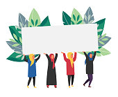 Muslim women holding banner with place for text. Woman right vector illustration.