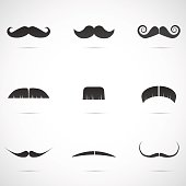 Vector illustration: mustaches in different shapes.