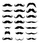 Mustache icon set vector collection