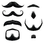 Mustaches set hand drawing in vector