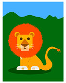 My cute lion vector illustration front of green land and blue sky background