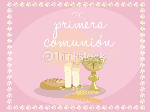 My first communion card invitation religious elements on blue vector card invitation religious elements on blue vector art stopboris Images
