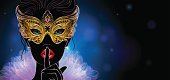 Vector Illustration. A mysterious lady in golden carnival mask put a finger on lips in a hush gesture.  Beautiful concept design for greeting card, party invitation, banner or flyer.