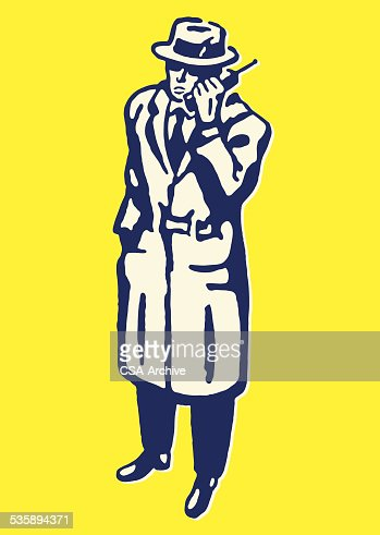 Mysterious Man on the Telephone : Vector Art