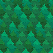 Mysterious seamless pattern with green overlapping coniferous trees. Cute Christmas firs or pines texture for textile, wrapping paper, surface, wallpaper, New Year design