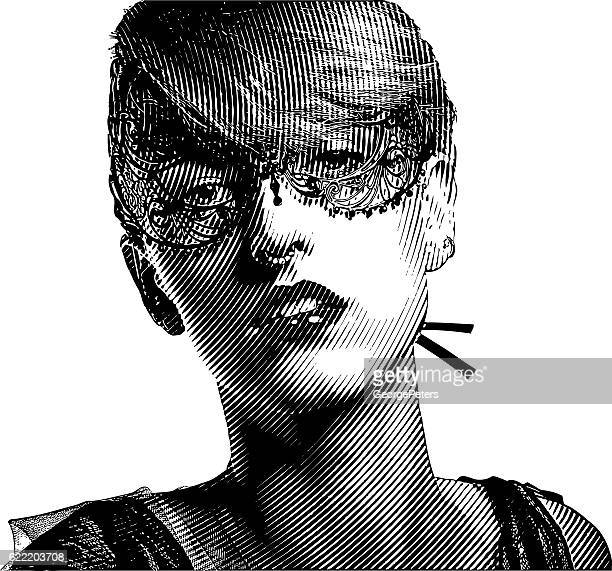 Mysterious Woman with Carnival Mask