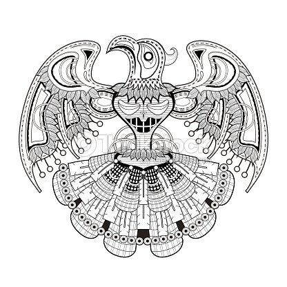 Misterio Pájaro Totem Para Colorear Página Arte vectorial | Thinkstock