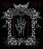 Magic frame with chiromancy palm, demons and angel.  Heaven and hell religious background. Sketch illustration with mystic and occult hand drawn symbols. Halloween and esoteric concept