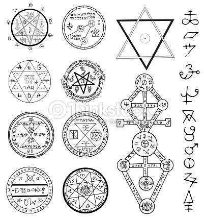 Mystic Set With Magic Circles Pentagram And Symbols Vector Art
