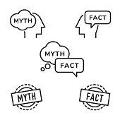Myth and Fact icons. Editable line vector.