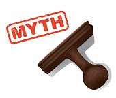 A realistic vector illustration of the word 'MYTH' stamped in red by a rubber stamp with a wooden handle.